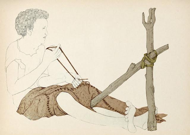 tiras de cuero, coser, mujer, primitivas, Ariadna