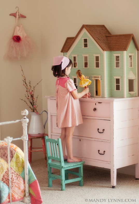 Faded white linen dolls houses for Young house love dollhouse