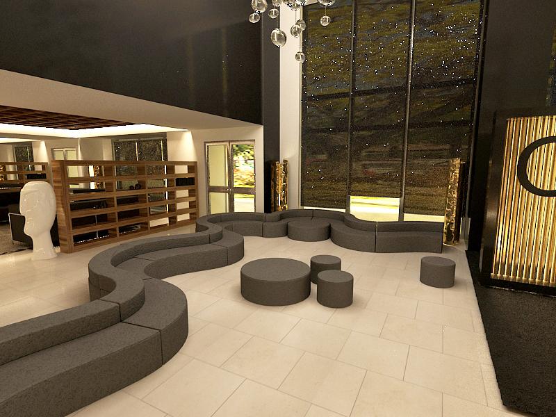 3d hotel design dise o de interiorismo de hall para hotel for Hoteles de diseno en paris