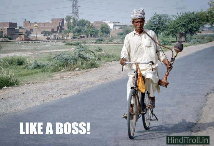 Like A Boss | Old Man Smoking A Cigarette On Cycle Desi Funny Picture | Old Man Desi Jugaad Funny Photo