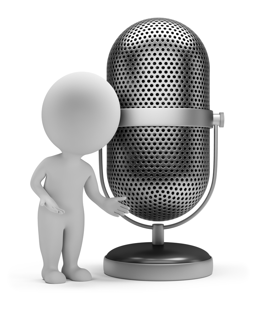 stick figure standing next to old-style radio microphone