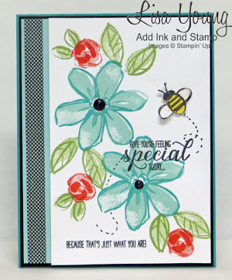 Stampin' Up! Garden in Bloom with Washi Tape. Handmade floral card by LIsa Young, Add Ink and Stamp