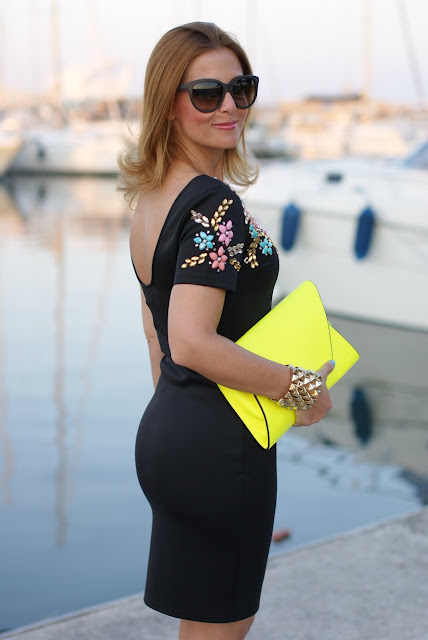 little black beaded dress, Chi Chi regina dress, neon yellow clutch, Fashion and Cookies