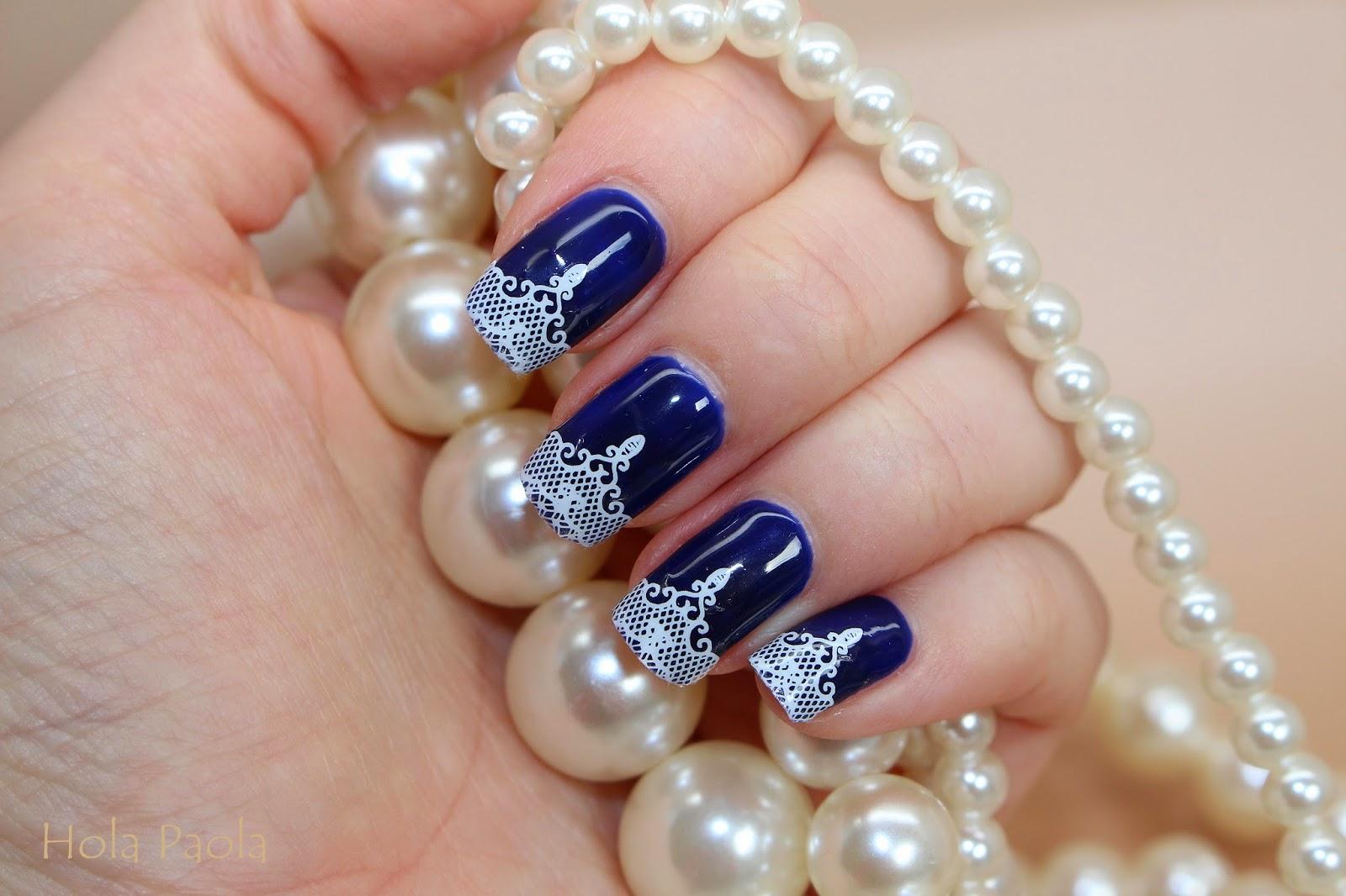 Semilac 088 Blue Ink Water Decal hybrydy niebieski naklejki wodne Diamond Cosmetics paznokcie białe koronka naturalna płytka długie paznokcie