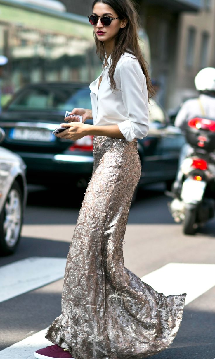 fashion inspiration: sparkle & sequin maxi skirt | cool chic style