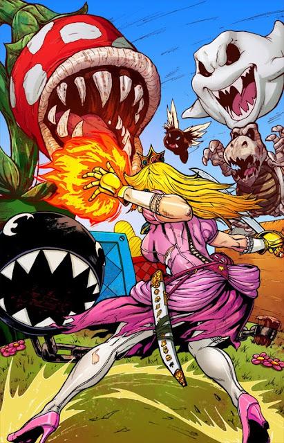 La Princesa Peach lo parte en este FanArt