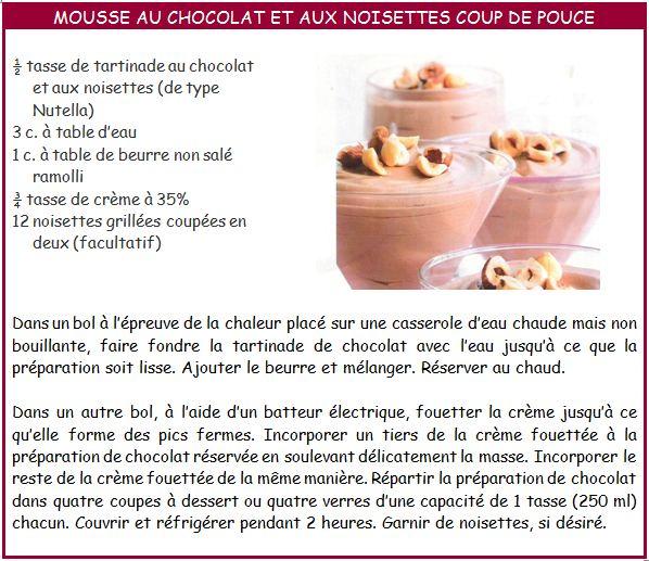 Les d lices de miss jaja mousse au chocolat et aux noisettes coup de pouce - Coup de pouce centre sud ...