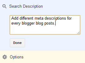 Enable Search Description Feature in Blogger