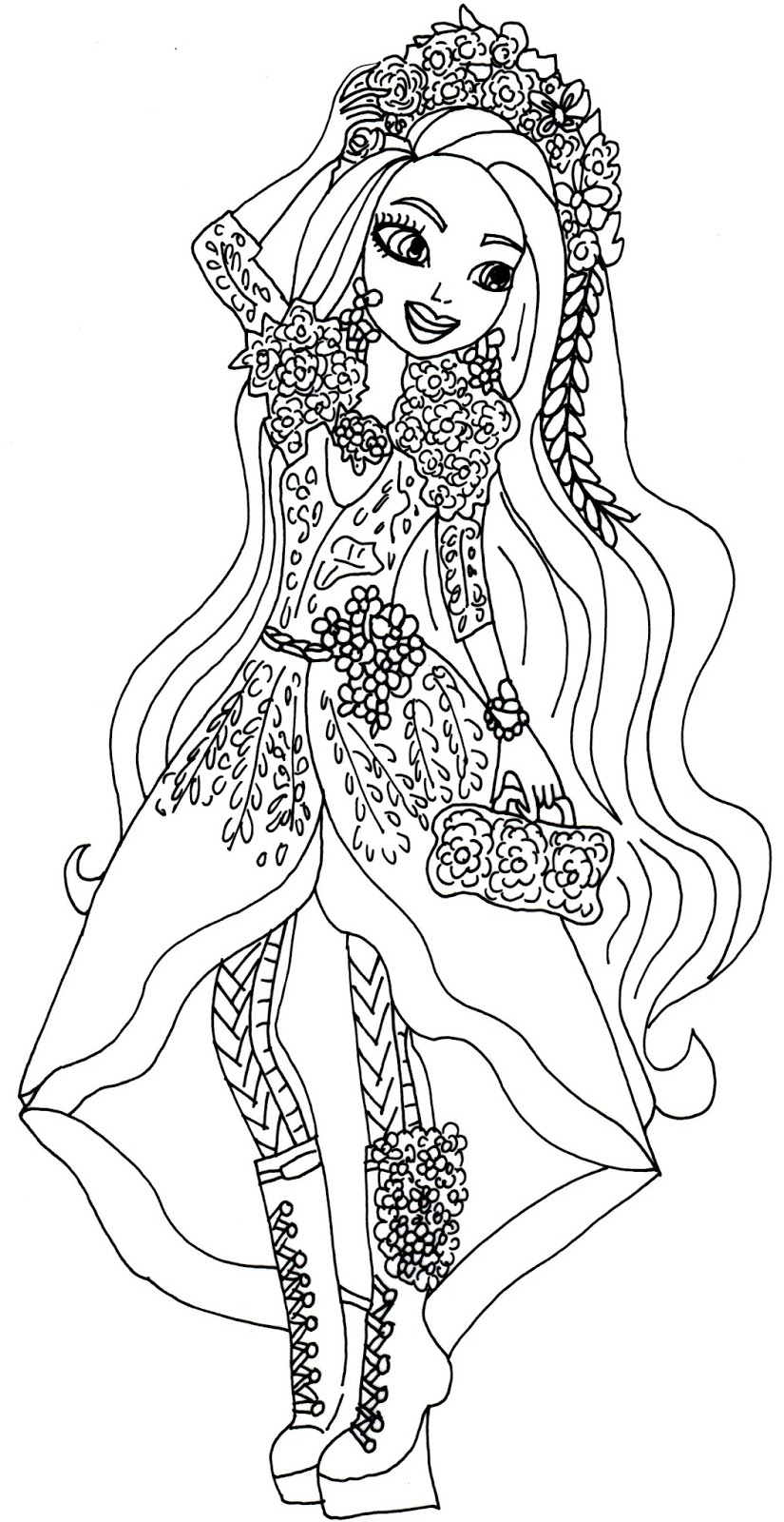 Printable coloring pages ever after high - Free Printable Spring Unsprung Ever After High Coloring Page For Holly O Hair