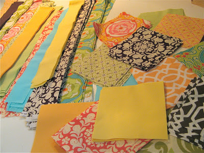 Cutting fabric squares and strips