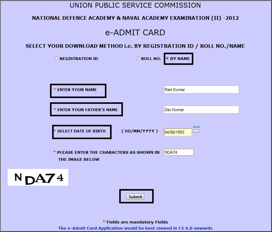 NDA (I) 2013 E-Admit Card UPSC Download