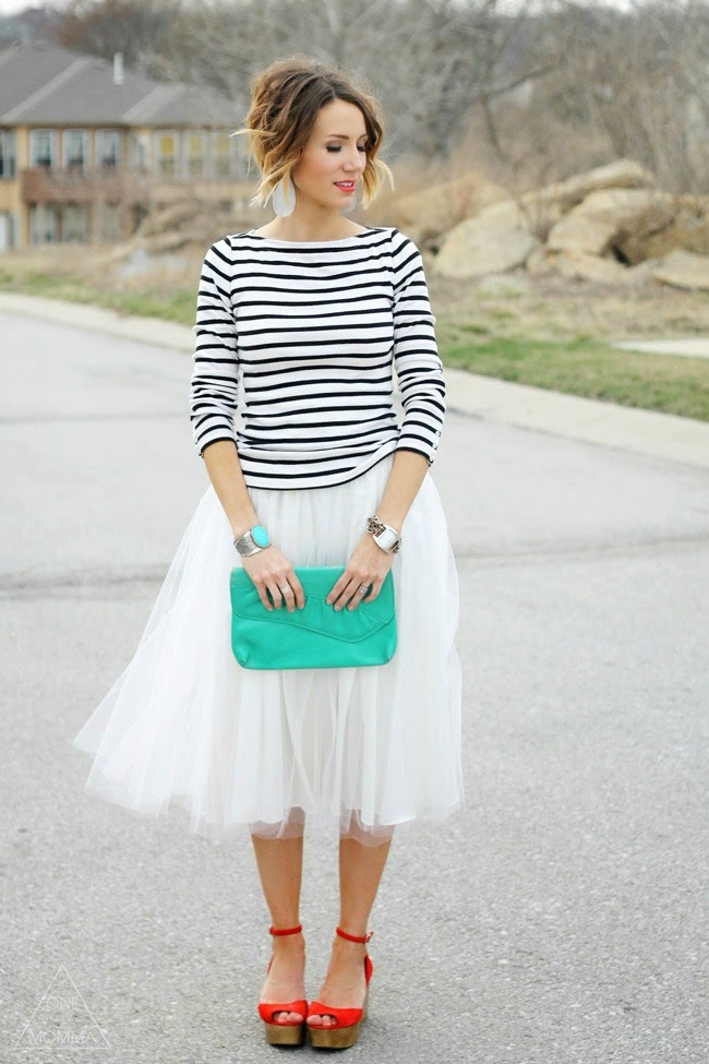 Stripes and a tulle skirt with teal and pops of red