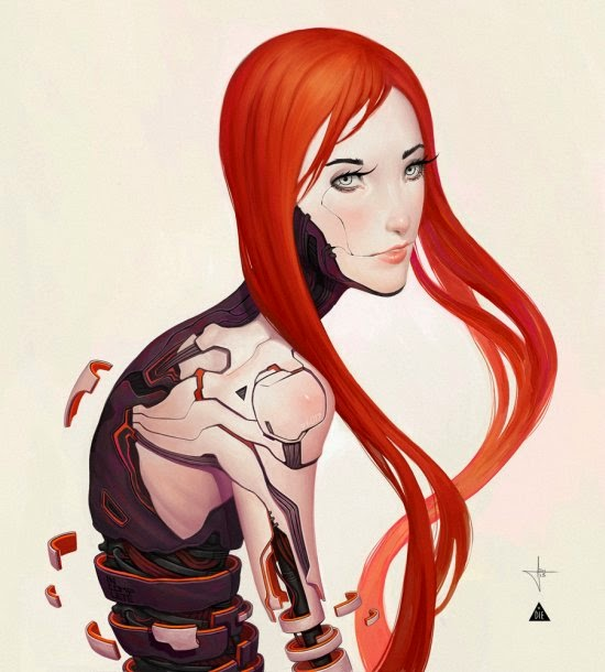 Adrian Dadich deviantart ilustrações ficção mulheres ciborgues biônicas robóticas