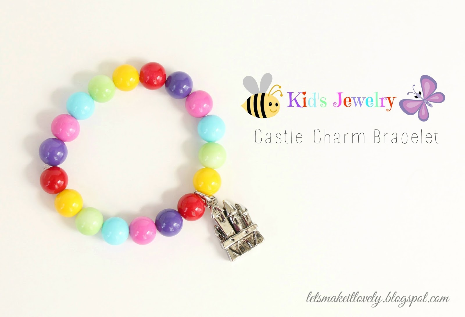 DIY Easy Castle Charm Bracelet for kids using Stretch magic.