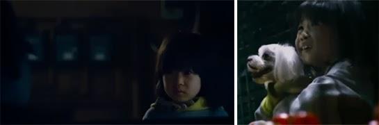 Kim Yoo Bin 김유빈 as Da Hee, solemnly approaches a car. / Terrified, Da Hee clutches a puppy.