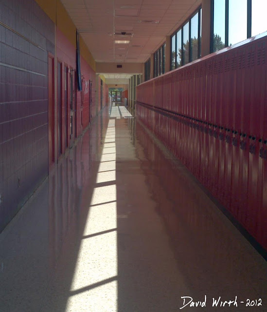high school hallway, lockers, sunlight, long hall