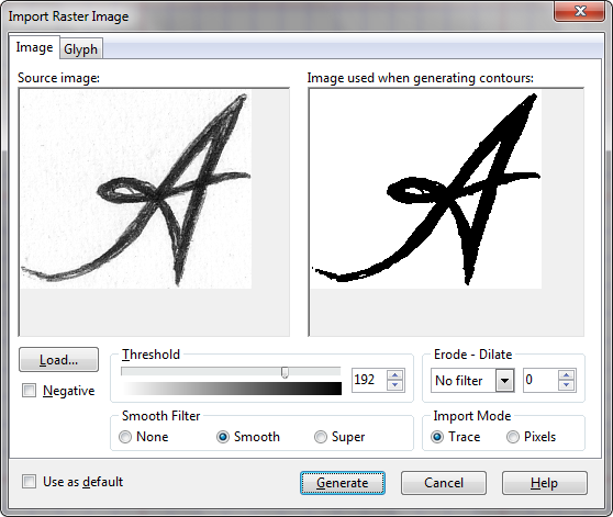 Загрузка картинки символа и её преобразование в кривые