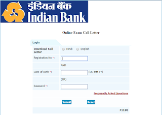 INDIAN BANK SO ADMIT CARDS 2015
