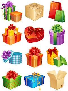 12 ilustraciones de dibujos de cajas y bolsas de regalos