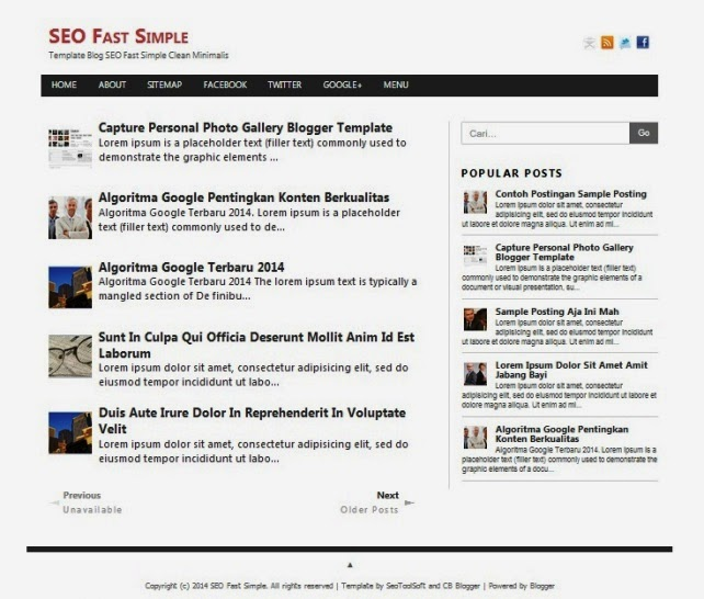 SEO Fast Simple - Template Blog Konsep Minimalis