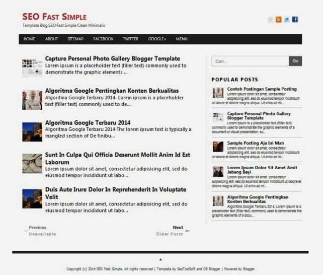 SEO Fast Simple - Template Blog Konsep Minimalis