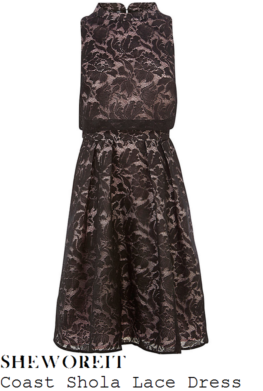 stephanie-waring-black-floral-lace-high-neck-dress-lady-jude