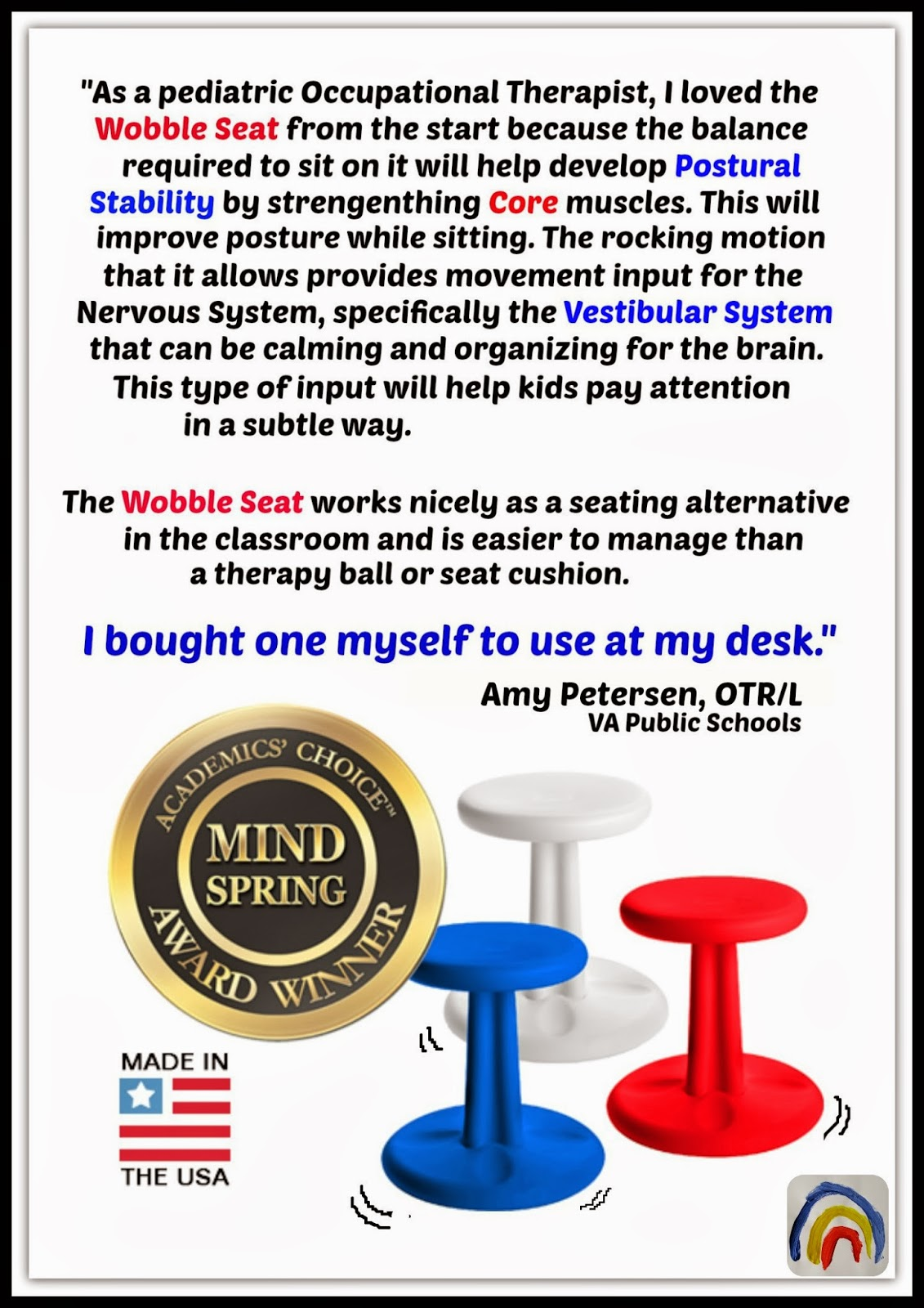 Wobble Seat Endorsement from Occupational Therapist Perspective at RainbowsWithinReach