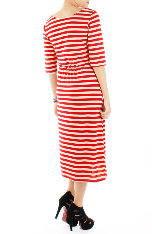 Lady in Red Stripe Dress with ¾ Sleeves