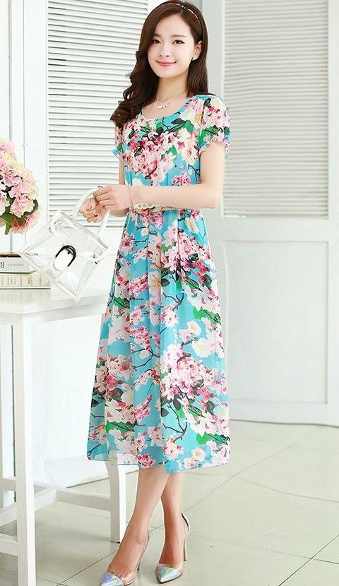 Four 2015 Summer Floral Short Sleeve Mid Calf Length Dress