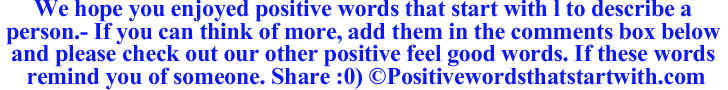 Image of Positive words that start with l to describe a person