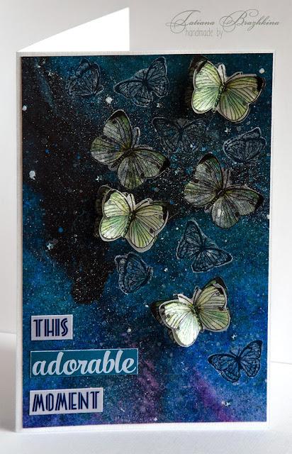 Открытка с бабочками на фоне зведного неба