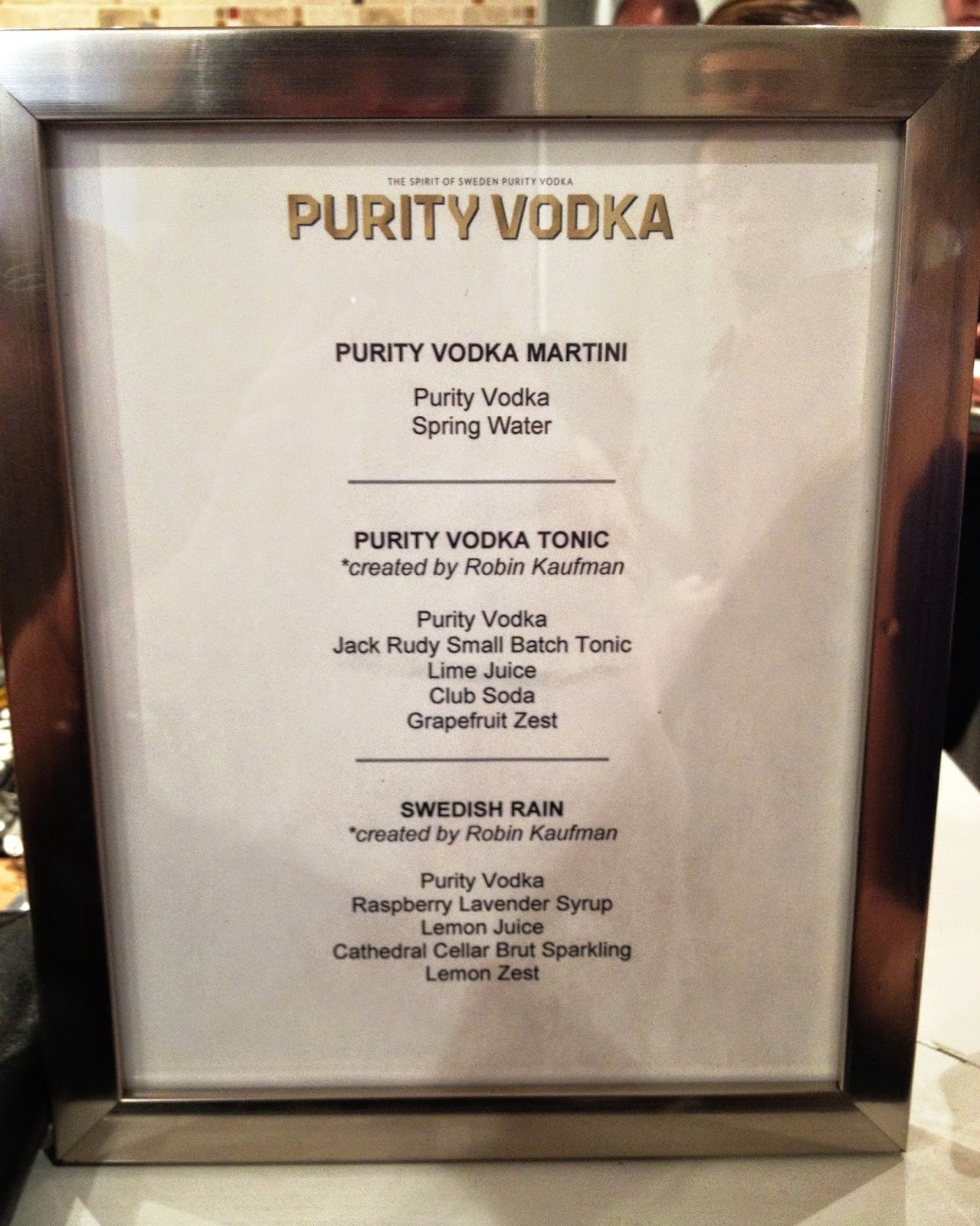 Purity Vodka Tasting Drink Menu