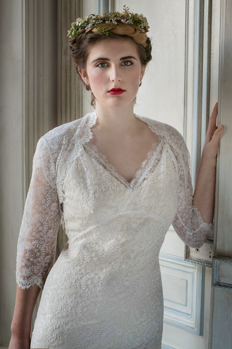 Vintage lace wedding dress cover-up, COLETTE from the Heavenly Collection