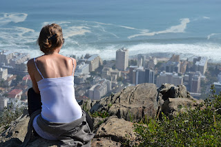 Girl overlooking Cape Town city