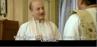 Give Prem one rupee and a coconut