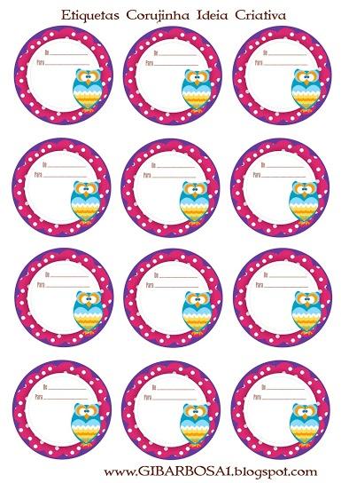 Lembrancinhas Etiquetas Circulares Corujinhas