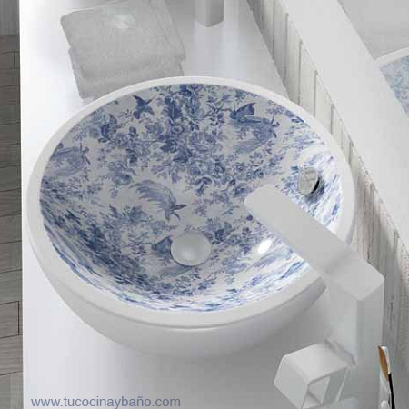 lavabo ceramico frutero vintage Toile de Jouy