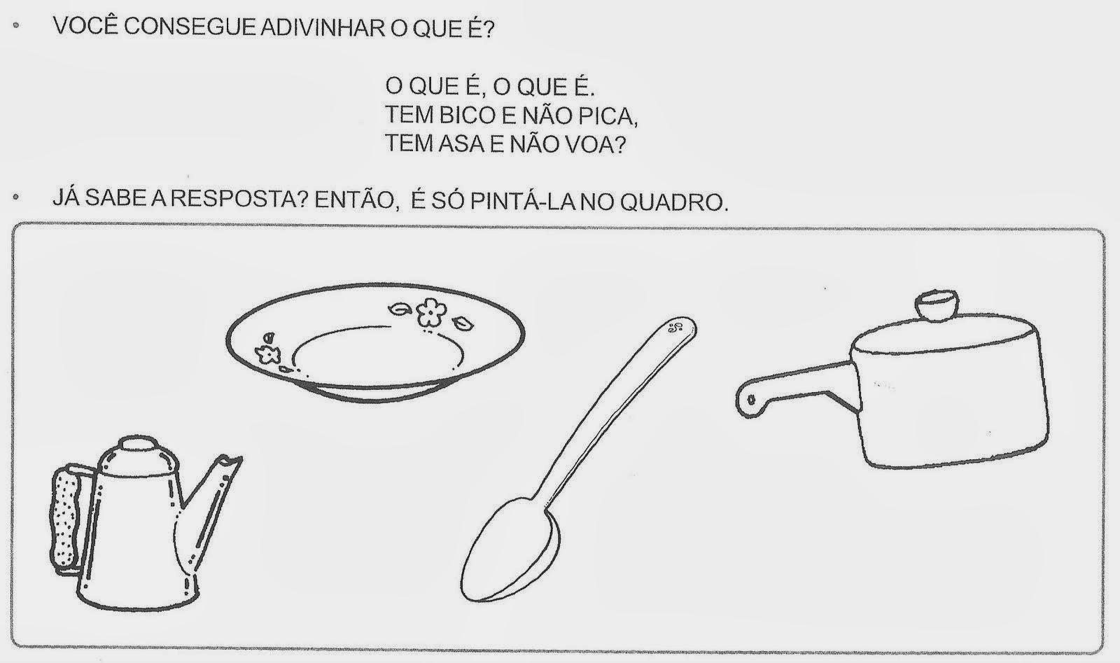 Atividades sobre Alimentação - Adivinha Pinte os Desenhos