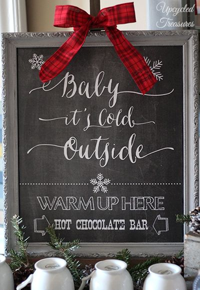 winter wedding chalkboard sign