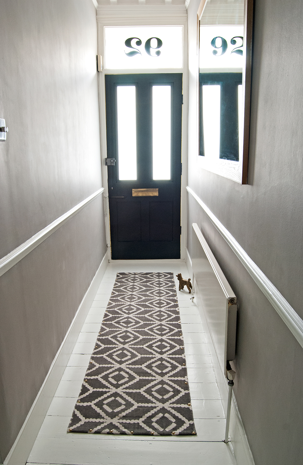 Finished hall revamp with white painted floor and runner secured with brass studs