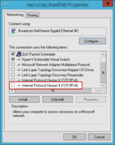 Wyłączony protokół TCP/IP dla połączenia