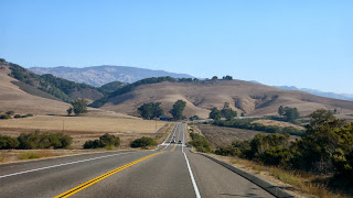 Road with rolling hills.