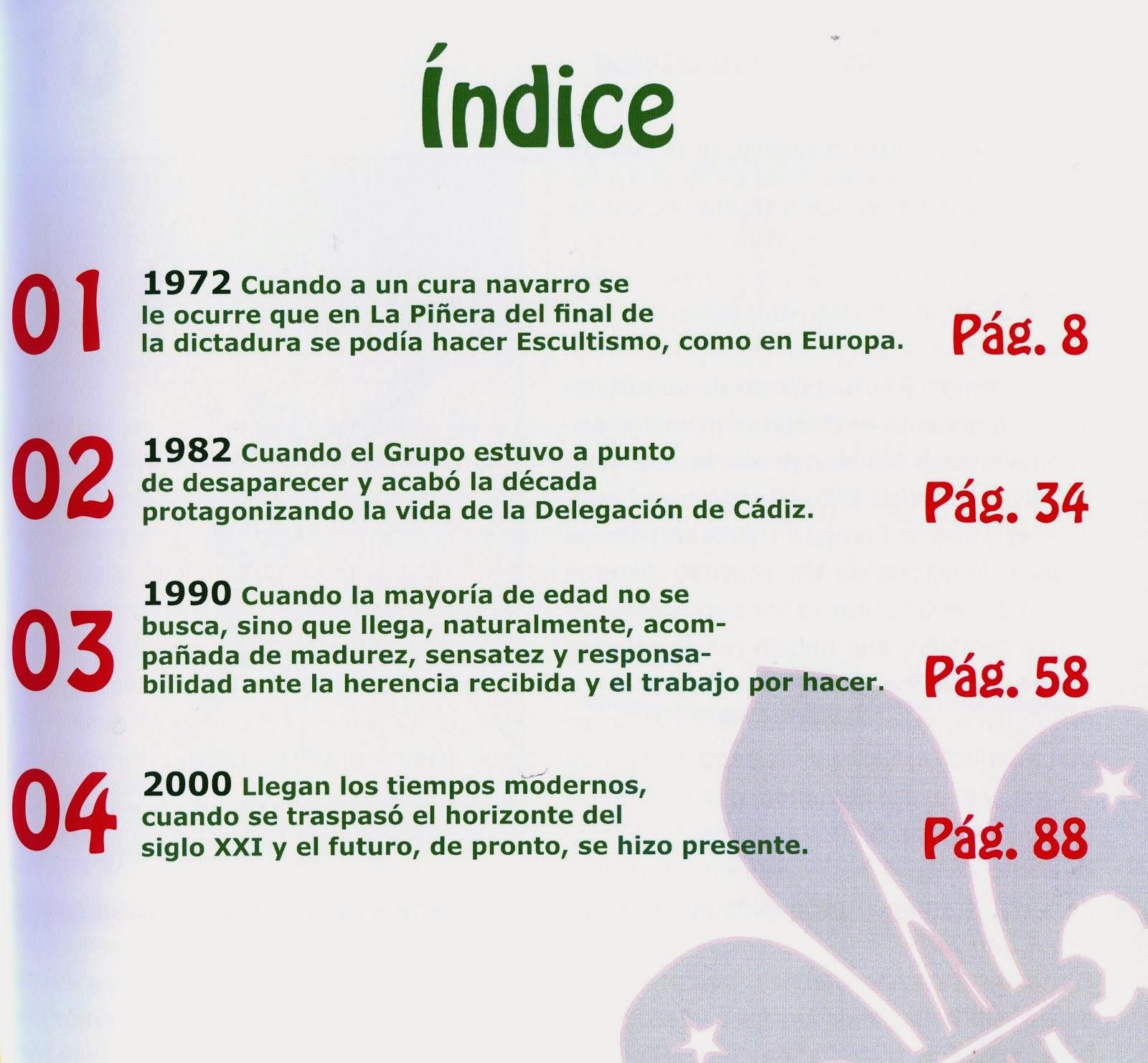 Scouts de La Piñera. Una escuela de vida. ÍNDICE