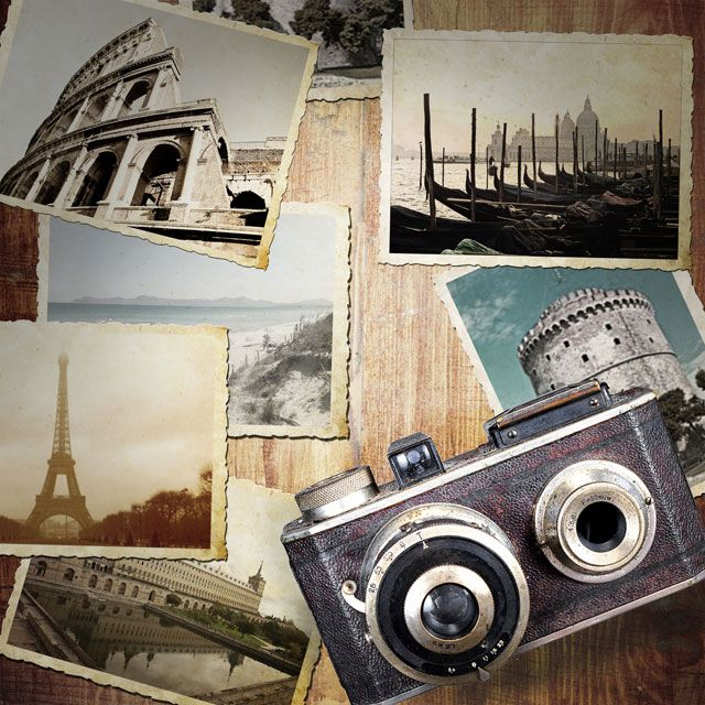 vintage photographs of famous landmarks and vintage camera