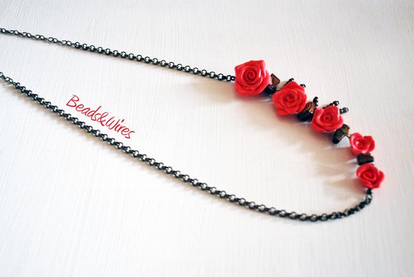collana di roselline fimo