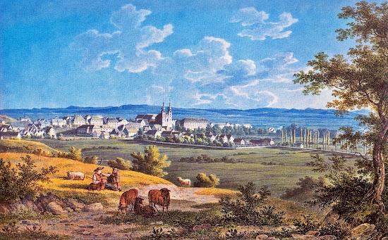 Wilhelm Scheuchzer - Residenzstadt Donaueschingen Aquarell 1827