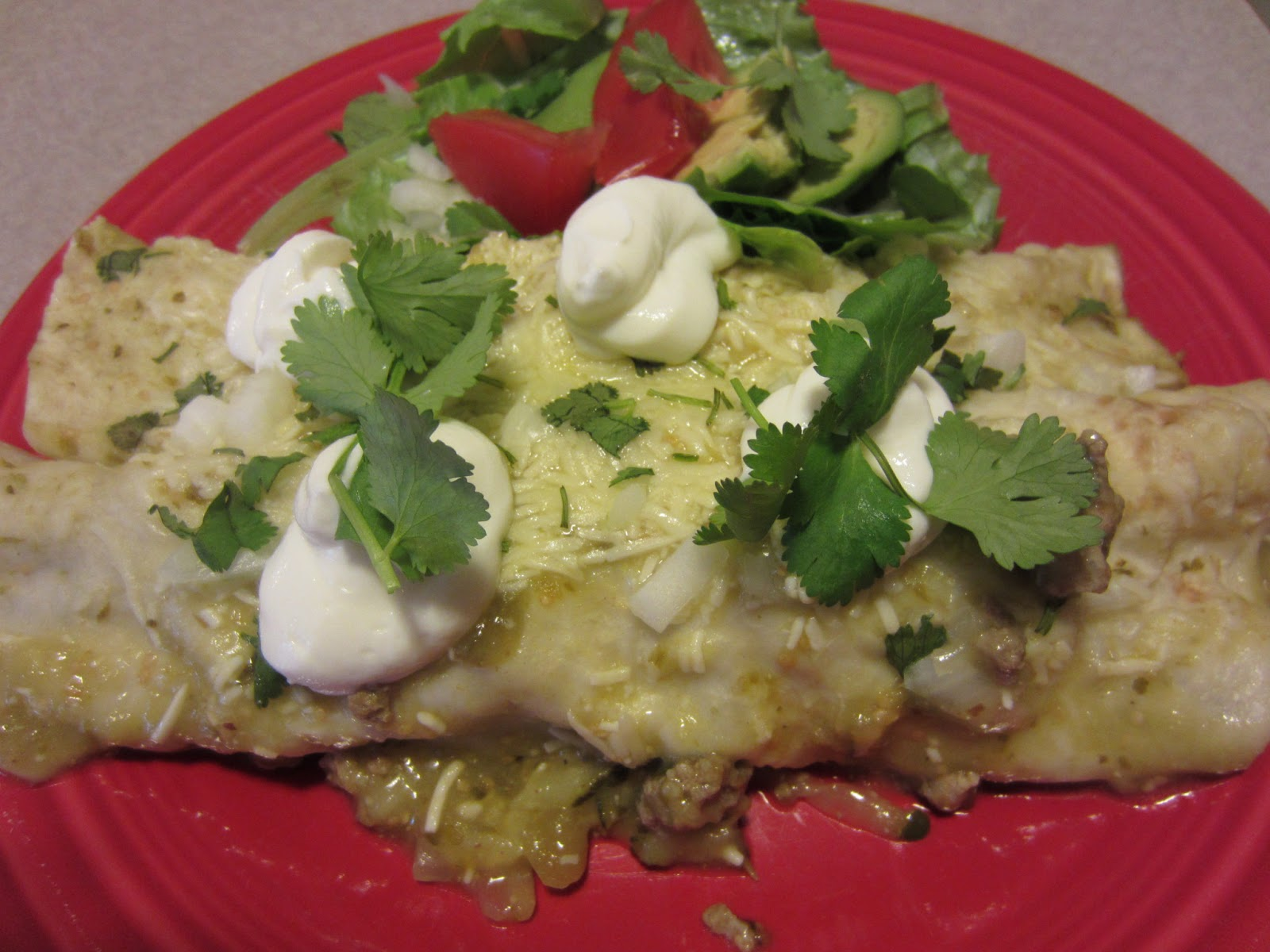 Turkey and Zucchini Enchiladas with Tomatillo Verde Sauce