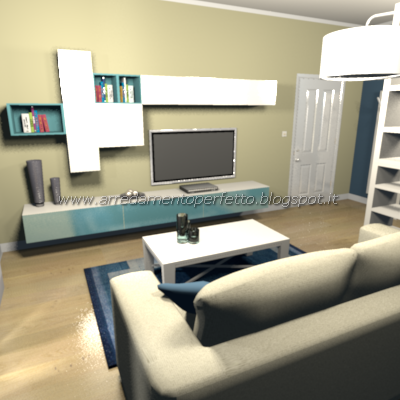 Parete attrezzata minimalista per un piccolo soggiorno