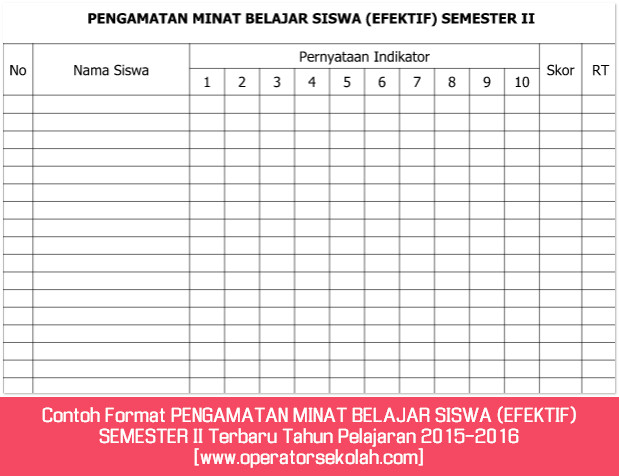 Contoh Format PENGAMATAN MINAT BELAJAR SISWA (EFEKTIF) SEMESTER II Terbaru Tahun Pelajaran 2015-2016 [www.operatorsekolah.com]