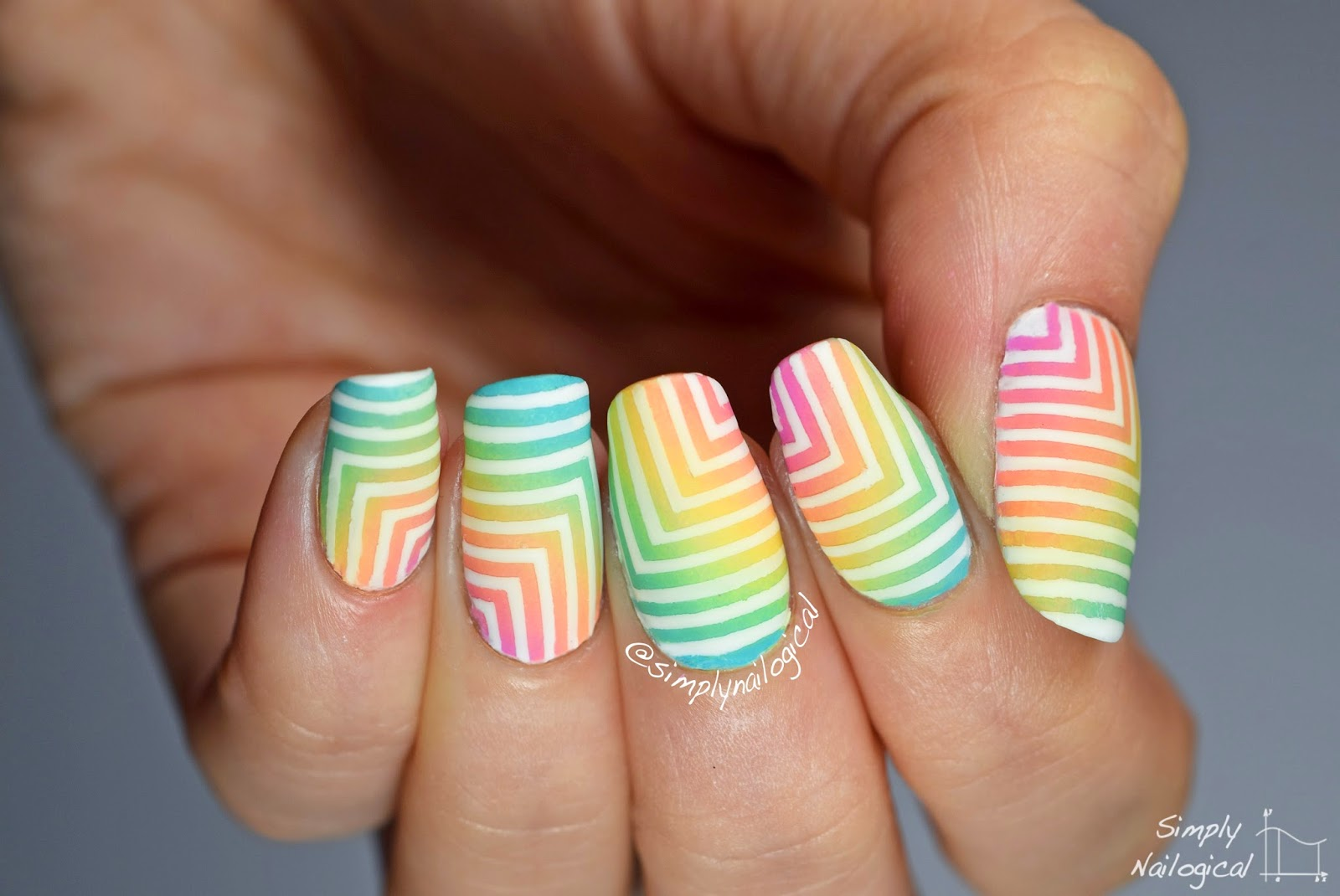 Simply Nailogical: Bleached neon corner gradient with white ...